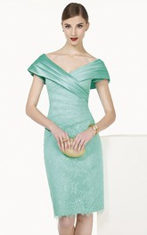 Satin V Neck Cap Sleeve Sheath Knee Length Lace Prom Dress Shown In Turquoise