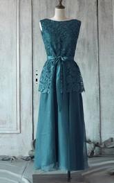 Pleated Lace Top Satin Sash Sleeveless Bateau-Neck Tea-Length Gown