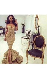 Mermaid Trumpet Straps Neck Sweetheart Sequins Sexy Floor-length Sleeveless Beading Sequins Evening Dress