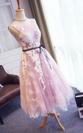V-Back Lace Sleeveless Pretty 3-4-Length Dress