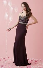 Spaghetti Sleeveless Jersey prom Dress With Beading And Jeweled Waist