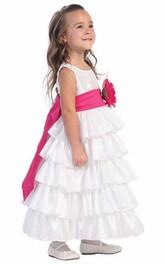 Taffeta Layered Ankle-Length Flower Girl Dress