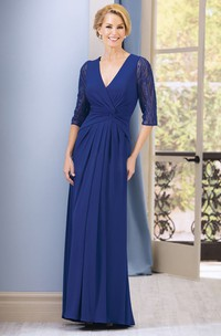 V-neck Half Sleeve Chiffon Mother of the Bride Dress With Beading