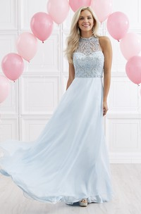 High Neck Sleeveless Chiffon Prom Dress With Beading And Keyhole