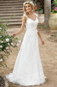 V-neck cap A-line Lace Wedding Dress With Court Train And Illusion back