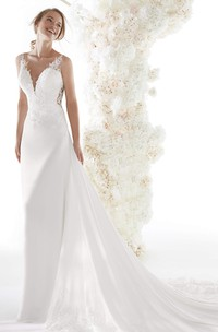 Sexy Plunging V-neck Backless Bridal Gown With Lace Appliques And Chapel Train