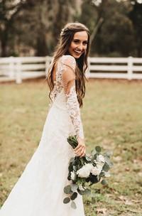 Dreaming Long Sleeves Lace Bohemian Deep-V Back Wedding Dress