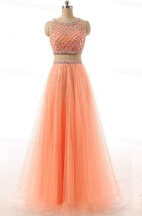 Floor-Length Sequined Tulle Long Two-Pieces A-Line Gown