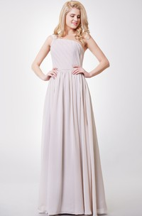 Chiffon Pleated Top A-Line One-Shoulder Gown