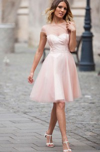 Short-Midi Illusion Inspire A-Line Cap-Sleeved Gown
