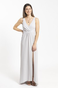 Sheath Chiffon Front Split Bridesmaid Dress With Plunging Neckline And Ruched Details