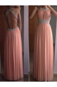 A-line Sleeveless Scoop Chiffon Pleats Floor-Length Dresses