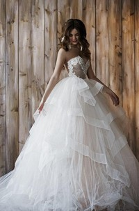 Sweetheart Lace Ruffled A-line Wedding Dress With detachable Tulle skirt