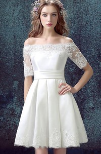 Short Lace A-Line Half-Sleeved Satin Dress