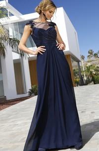 Modest Short Sleeve Sheath Chiffon Bateau Formal Dress with Ruching and Beading