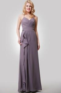 Side Draping Spaghetti Floor-Length Sweetheart Dress