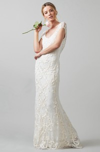 Sheath V-neck Lace Cap-sleeve Dress With Appliques And Low-V Back