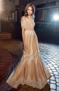 A-Line Long Short Sleeve Lace Jersey Illusion Dress With Appliques