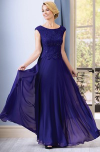 cap-sleeve long Chiffon Mother of the Bride Dress With Lace And Beading