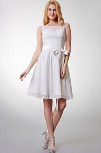 Bateau Sleeveless Lace short A-line Dress With bow
