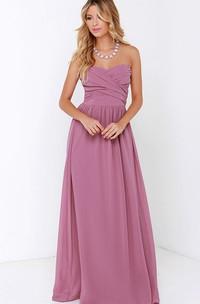 Floor-Length Crisscross Ruched Charming Sweetheart Dress