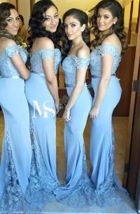 Lace Zipper Button Back Off-The-Shoulder Sassy Bridesmaid Dress