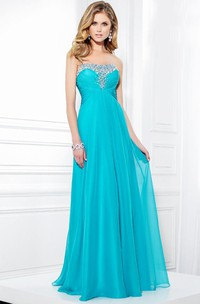 Strapless Beaded Floor-length Dress With Ruching