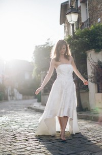 Bridal In Satin Lace High-Low Boho-Inspired Dress