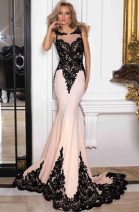 Scoop-neck Sleeveless fishtail Jersey Prom Dress With Illusion And Appliques