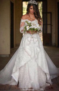 Off-the-shoulder Lace Illusion Long Sleeve Wedding Gown