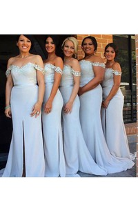 Trumpet Maxi Off-the-shoulder Sleeveless Appliques Split Front Split Lace Satin Dress