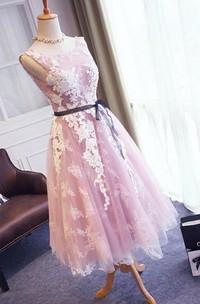 V-Back Lace Sleeveless Pretty 3-4-Length Dress