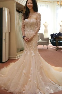 Sweetheart Lace Tulle Illusion Long Sleeve Wedding Gown