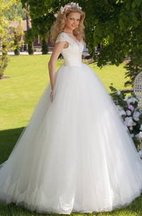 fairy V-neck Cap-sleeve Tulle Ball Gown With Beading And Corset Back