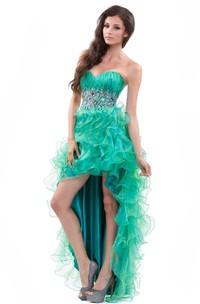 High-Low Rhinestoned Sleeveless Sweetheart Ruffled Gown