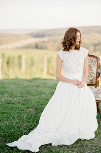 Long Keyhole Back Lace Boho Cap Dress