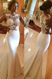 Trumpet Mermaid High Neck Satin Applique Sleeveless Sweep Brush Train Wedding Dresses