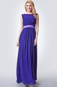 Keyhole Back A-Line Illusion-Neckline Bridesmaid Dress