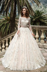 Lace Jeweled Satin Ribbon Long-Sleeve Bateau-Neckline Dress