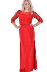 Bateau 3-4-sleeve Lace Chiffon plus Dress With Appliques
