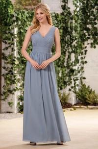 Plunged Chiffon Sleeveless Long Dress With Ruching