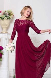 Bateau Lace 3-4-sleeve Chiffon Dress With bow