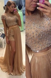 Short-Sleeve Jewels Two-Pieces Stunning Party Gown