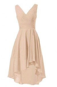 Asymmetrical Chiffon V-Neckline Sleeveless Ruched Dress