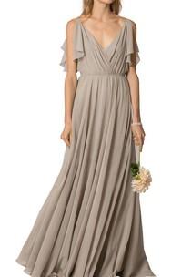Long Chiffon Ruched V-Neckline Button-Back Dress