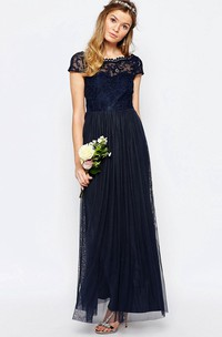 Bateau Short Sleeve Pleated Long Dress With Appliques And Illusion
