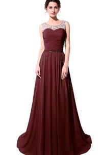 Chiffon Illusion Neck A-Line Sleeveless Dress