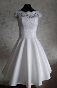 Cap-Sleeve Wedding Vintage 1950S Satin Gown