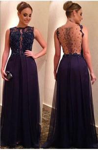 Appliqued A-Line Long Jewels Elegant Dress