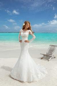 T-Shirt-Sleeve Rhinestone Appliques Floor-Length Fishtail Lace Gown